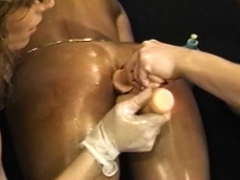 Hairy lesbian gets her pussy and ass toyed in wild threesome