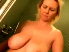 Big Tits Mature Showering And Drying Off