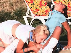 Lucky blonde lesbo gets pussy fucked by sexy Natasha Shy