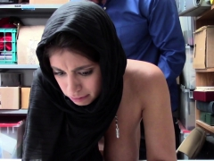 Horny Private Officer Makes Muslim Shoplifter Strip