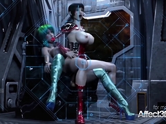 3d Animation Futanari Threesome In A Space Station