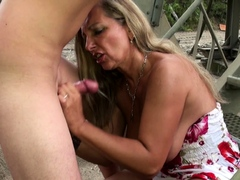 Young Guy caught big tits German Mature and Fuck her Outside