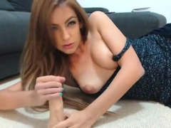 lovely milf pleasuring a dildo and fingering herself