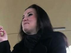 Brunette fucked in dark place on train station in public