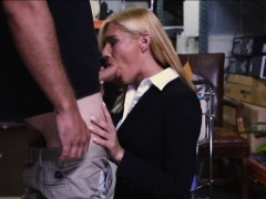 Sexy milf convinced to have sex with pawn man for cash