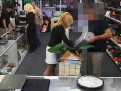 Hot blonde milf sucked and fucked in storage room for cash