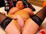 Huge titted raven BBW Web Actress masturbates