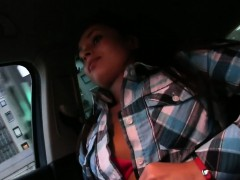 Cute amateur flashing boobs in taxi